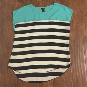 Rue 21 sz xl striped black and white turquoise top